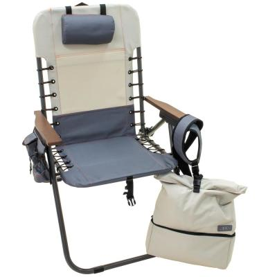 Hi-Boy Slate/Putty Powdercoated Aluminum Folding Outdoor Beach and Lawn Chair with Backpack Straps and included Backpack