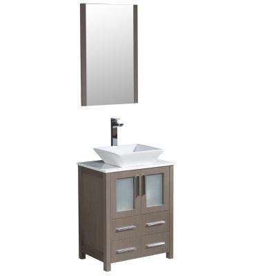 Torino 24 in. Vanity in Gray Oak with Glass Stone Vanity Top in White with White Basin and Mirror