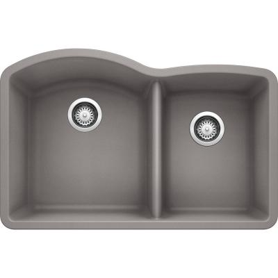 DIAMOND Undermount Granite Composite 32 in. 60/40 Double Bowl Kitchen Sink in Metallic Gray