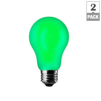 Green A19 7W LED Light Bulb (2-Pack)