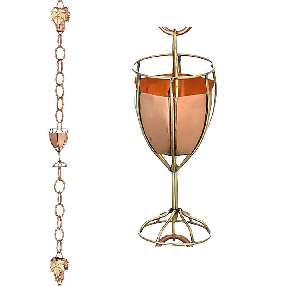 Wine and Glasses Pure Copper 8.5 ft. Rain Chain