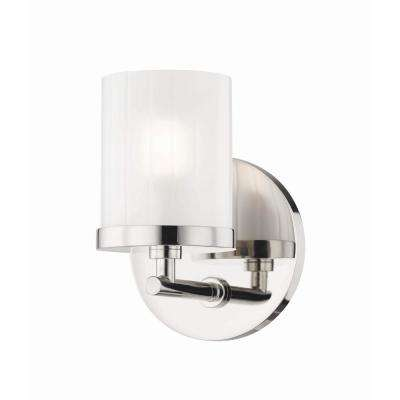 Ryan 1-Light Polished Nickel Bath Light with Clear Frosted Glass Shade