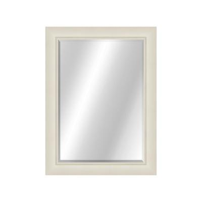 Curved 22 x 28 Contemporary White Framed Vanity Mirror