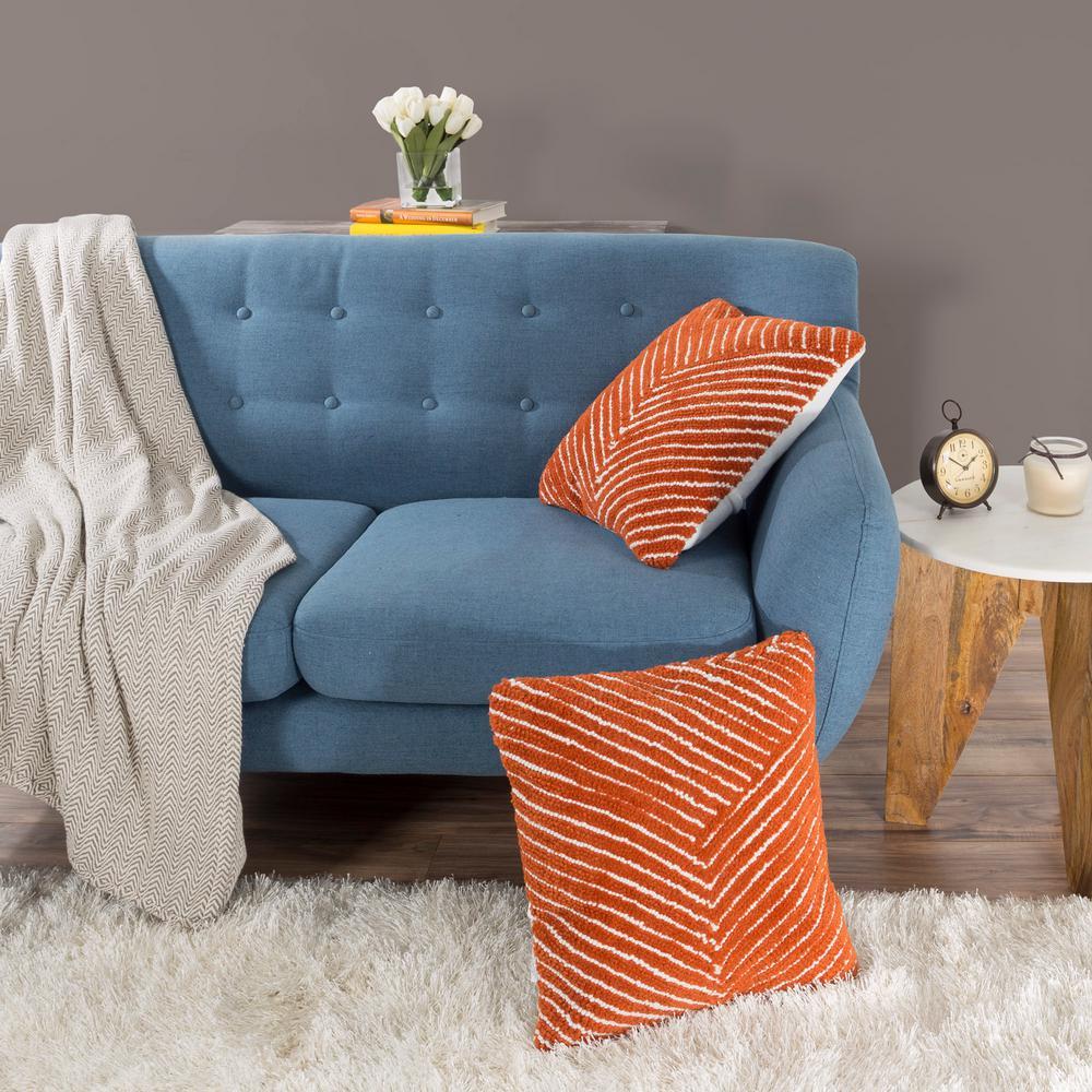 Modern Diagonal Stripe Orange Decorative Pillow