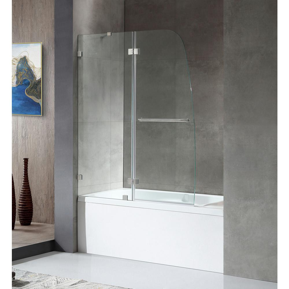 Anzzi Herald Series 48 In X 58 Frameless Hinged Tub Door Brushed