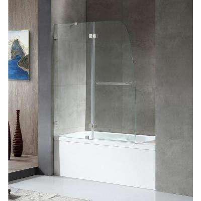 HERALD Series 48 in. x 58 in. Frameless Hinged Tub Door in Brushed Nickel with Towel Bar with Handle