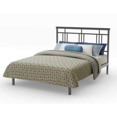 Cottage Dark Grey Metal Queen Size Platform Bed