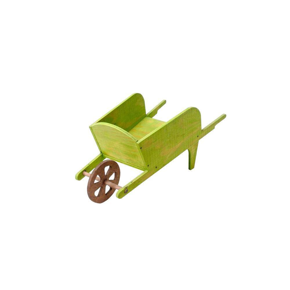 KD Wheelbarrow Wood Planter in Green-WBPG738 - The Home Depot