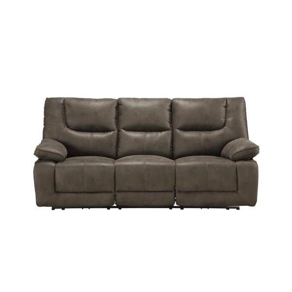 87 in. Gray Leather 3-Seater Bridgewater Sofa with Power Motion