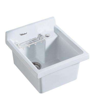 All-in-One Drop-in Vitreous China 24 in. 1-Hole Single Bowl Kitchen Sink in White