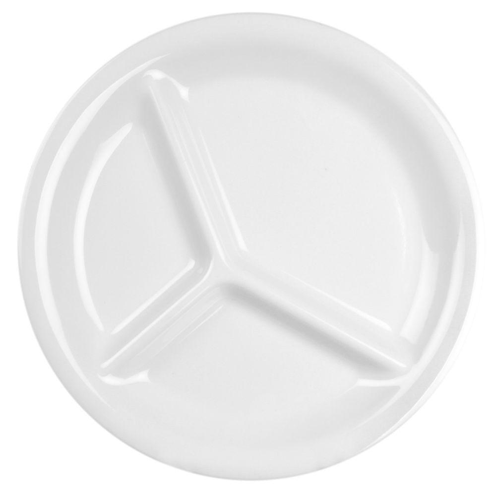 Restaurant Essentials Coleur 10-1/4 in. 3-Compartment Plate in White (12-Piece)