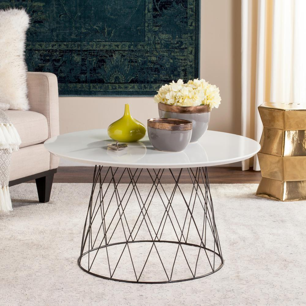 Beau Safavieh Roe Retro Mid Century Lacquer White Coffee Table