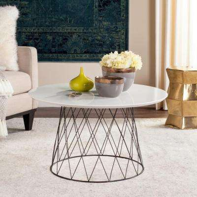 Roe Retro Mid Century Lacquer White Coffee Table