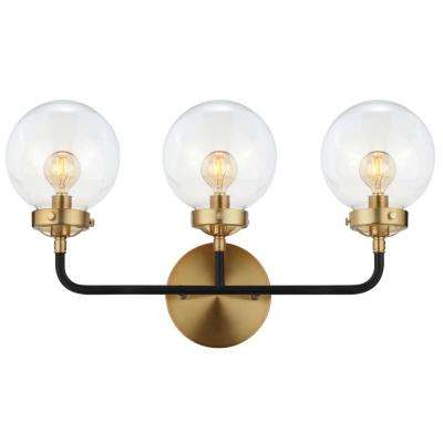 Caleb 22 in. 3-Light Black/Brass Wall Sconce