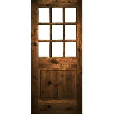 36 In X 80 Rustic Knotty Alder Left Hand Clear Low E Gl 9 Lite Provincial Stained Wood Single Prehung Front Door