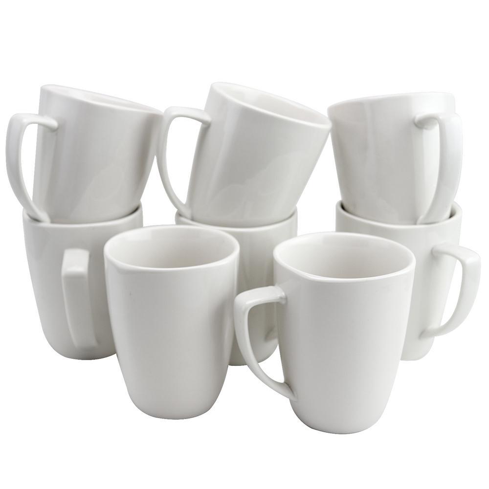 Zen Buffetware 12 oz. White Ceramic Mugs (Set of 8)