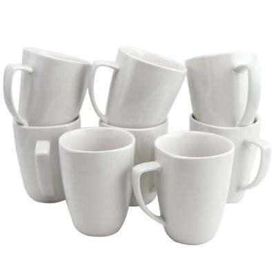 Zen Buffetware 12 oz. White Ceramic Mugs (Set of 8)