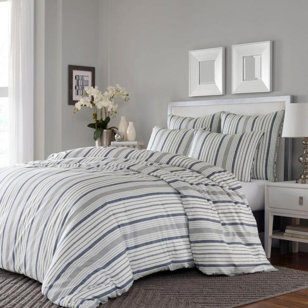 Conrad 3-Piece Gray/Slate Blue Striped Full/Queen Duvet Cover Set