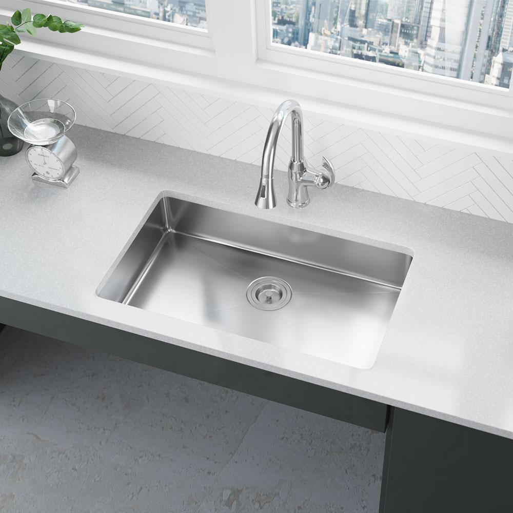 Rene Undermount Stainless Steel 29 In Single Basin Kitchen Sink R1 1036s 18 The Home Depot