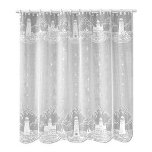 Heritage Lace Lighthouse 72 In White Shower Curtain 6140W OC