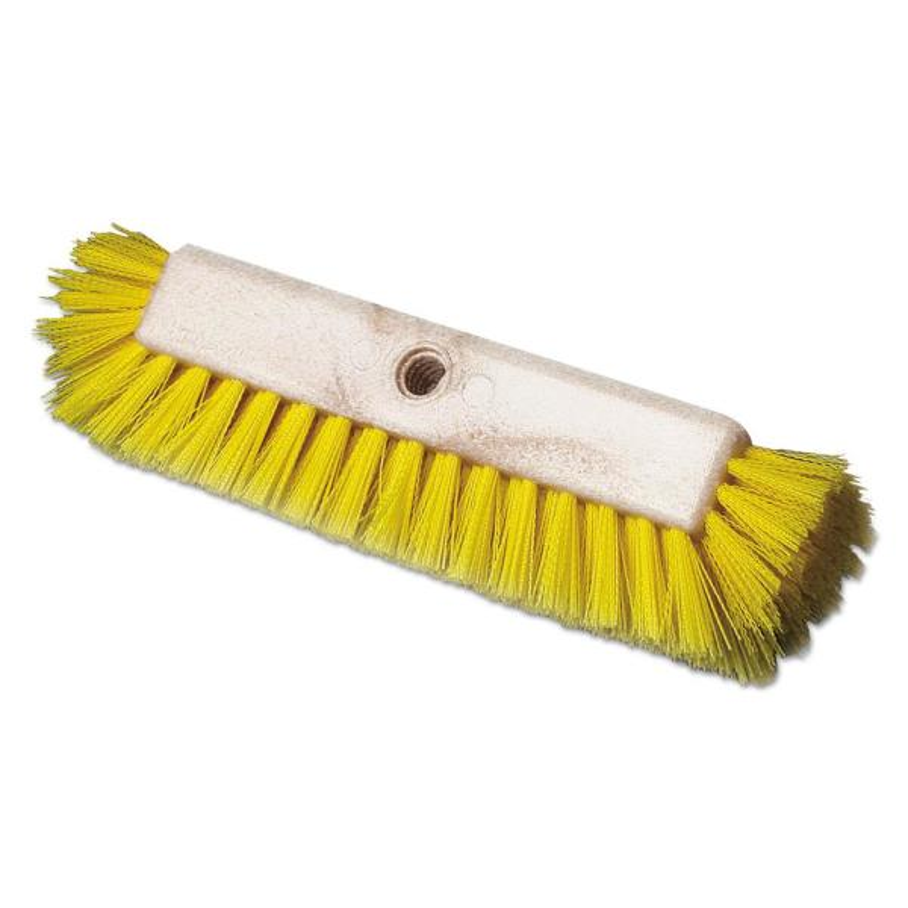 10 in. L Yellow Dual-Surface Scrub Brush, Plastic Fill