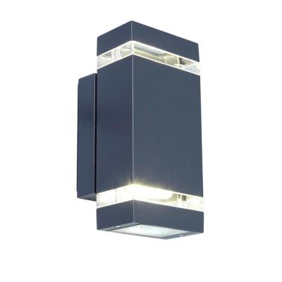 9 in. Dark Gray Outdoor Integrated LED Wall Lantern Sconce