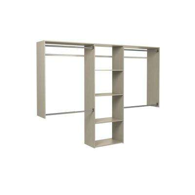 14 in. D x 96 in. W x 72 in. H Rustic Grey Essentials Plus Wood Closet Kit