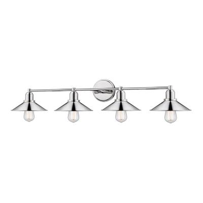 Cortez 4-Light Polished Nickel Bath-Light with Polished Nickel Steel Shade