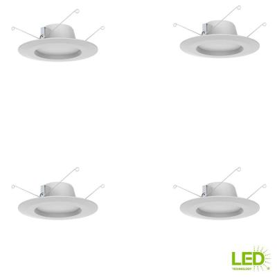 Commercial Electric 5 in. and 6 in. White Integrated LED Recessed Trim, 2700K Soft White (4-Pack)