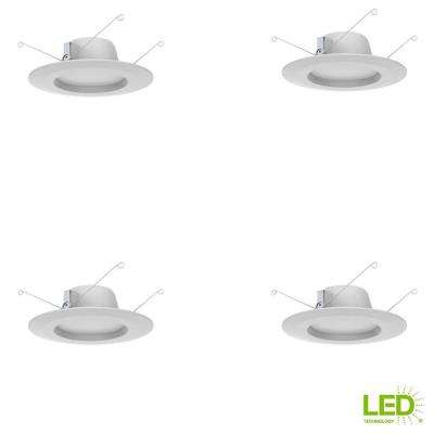 5 in. and 6 in. White Integrated LED Recessed Trim, 2700K Soft White (4-Pack)