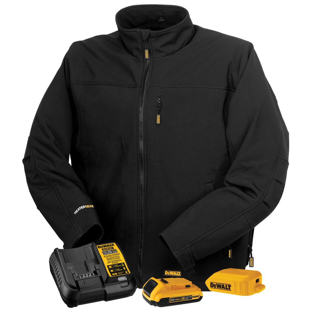 DEWALT Unisex Medium Black Soft Shell Heated Jacket with 20-Volt/2.0 Amp Battery and Charger
