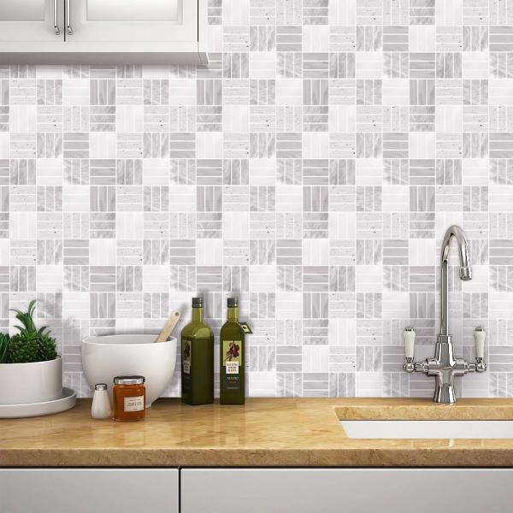 Weave Grigio 10 in. W x 10 in. H Light Purple Peel and Stick Decorative Mosaic Wall Tile Backsplash (6-Tiles)