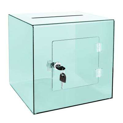 10 in. x 10 in. x 10 in. Acrylic Suggestion Donation Box with Easy Open Rear Door, Crystal Green