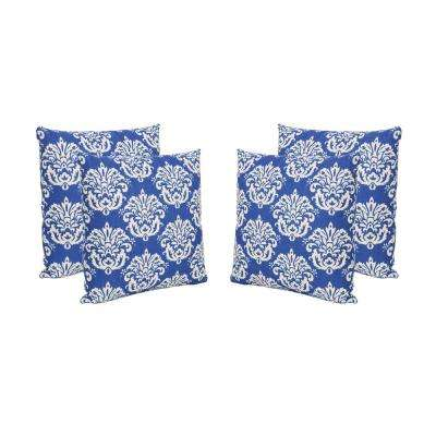 Tenerife Blue and Beige Square Outdoor Throw Pillows (Set of 4)