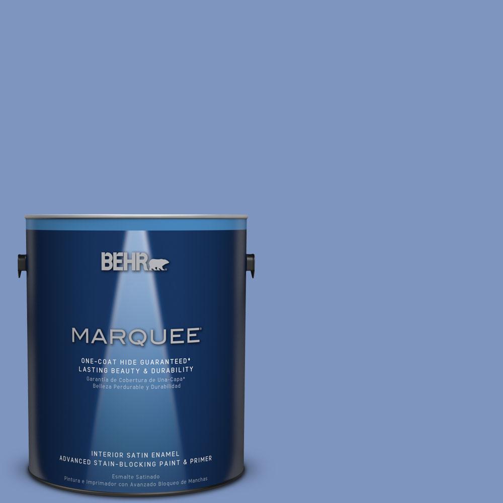 1 gal. #M540-5 Blue Satin One-Coat Hide Satin Enamel Interior Paint