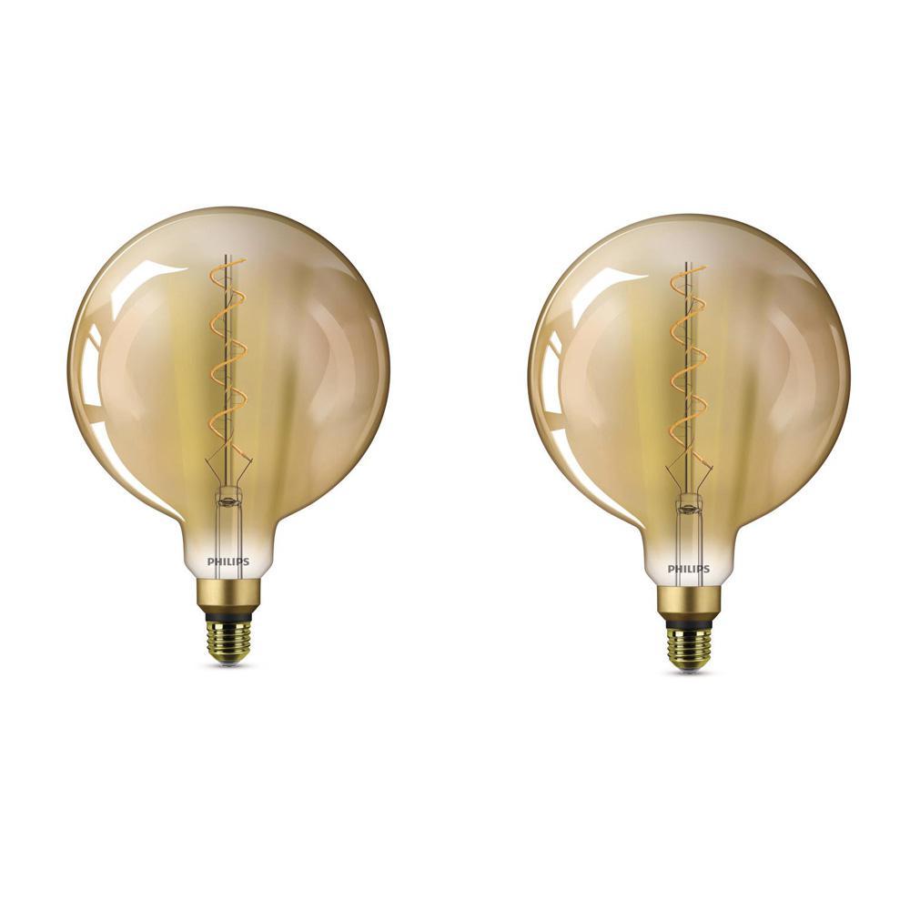 40-Watt Equivalent G63 Dimmable Vintage Glass Edison LED Large Light Bulb Amber Warm White (2000K) (2-Pack)