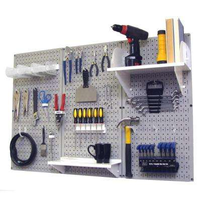 32 in. x 48 in. Metal Pegboard Standard Tool Storage Kit with Gray Pegboard and White Peg Accessories