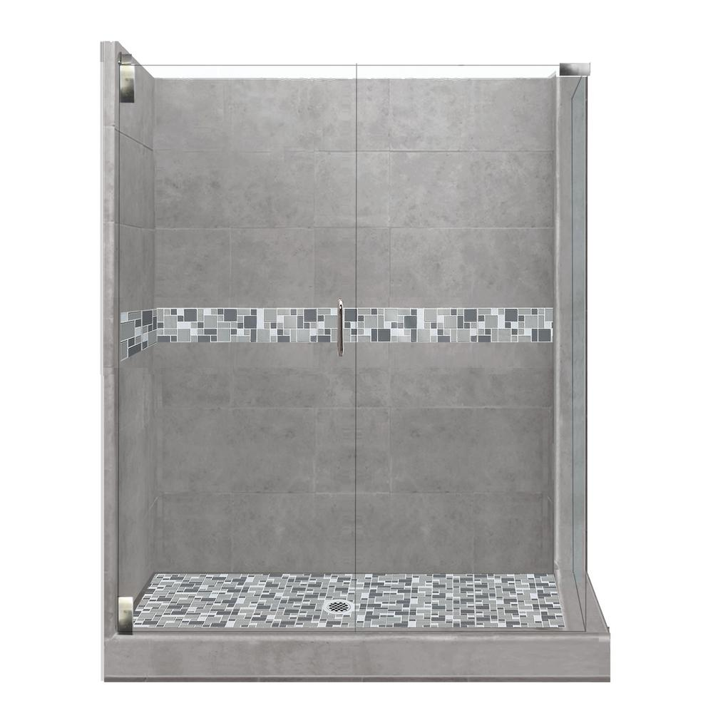 American Bath Factory Newport Grand Hinged 36 in. x 42 in. x 80 in. Left-Hand Corner Shower Kit in Wet Cement and Chrome Hardware