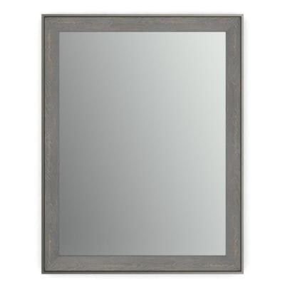 21 in. x 28 in. (S1) Rectangular Framed Mirror with Standard Glass and Easy-Cleat Flush Mount Hardware in Weathered Wood