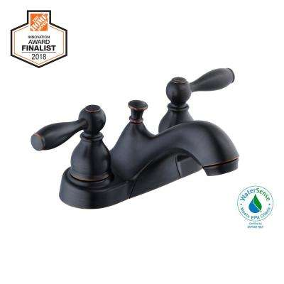 Mandouri 4 in. Centerset 2-Handle Low-Arc Bathroom Faucet in Bronze