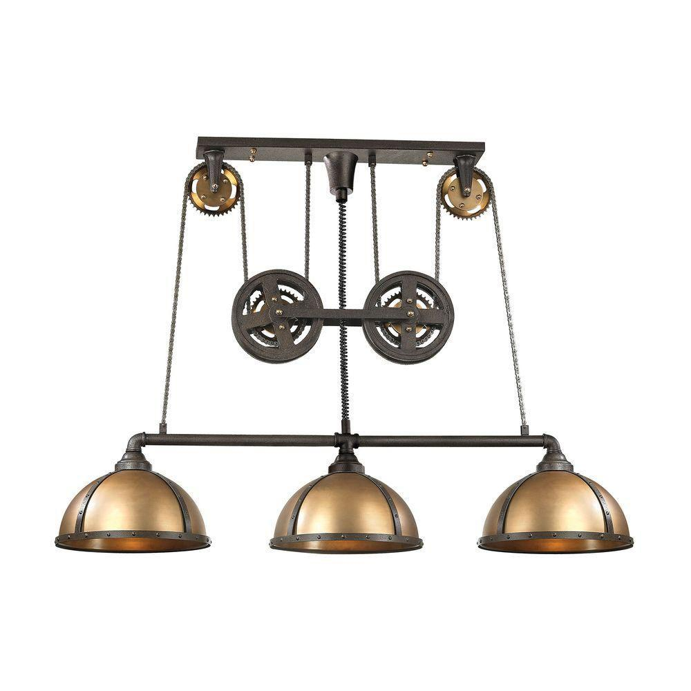 Titan Lighting Torque 3-Light Vintage Rust And Brass LED