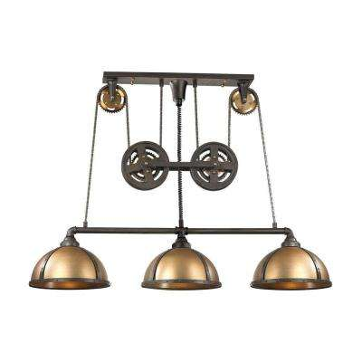 Torque 3 Light Vintage Rust And Brass LED Island Light