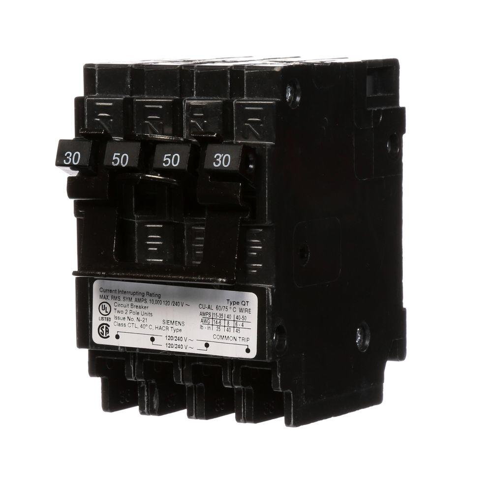 Siemens Quadplex One Outer 50 Amp Double-Pole and One Inner 30 Amp Double-