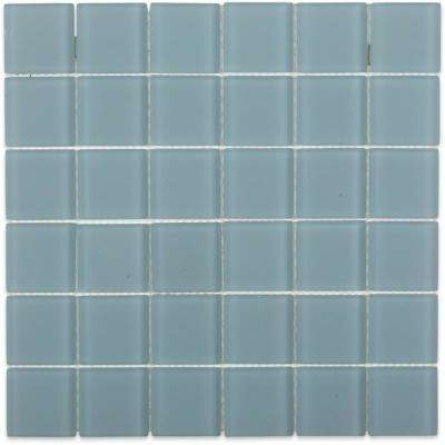 Contempo Blue Gray Frosted Glass 12 in. x 12 in. x 8 mm Floor and Wall Tile