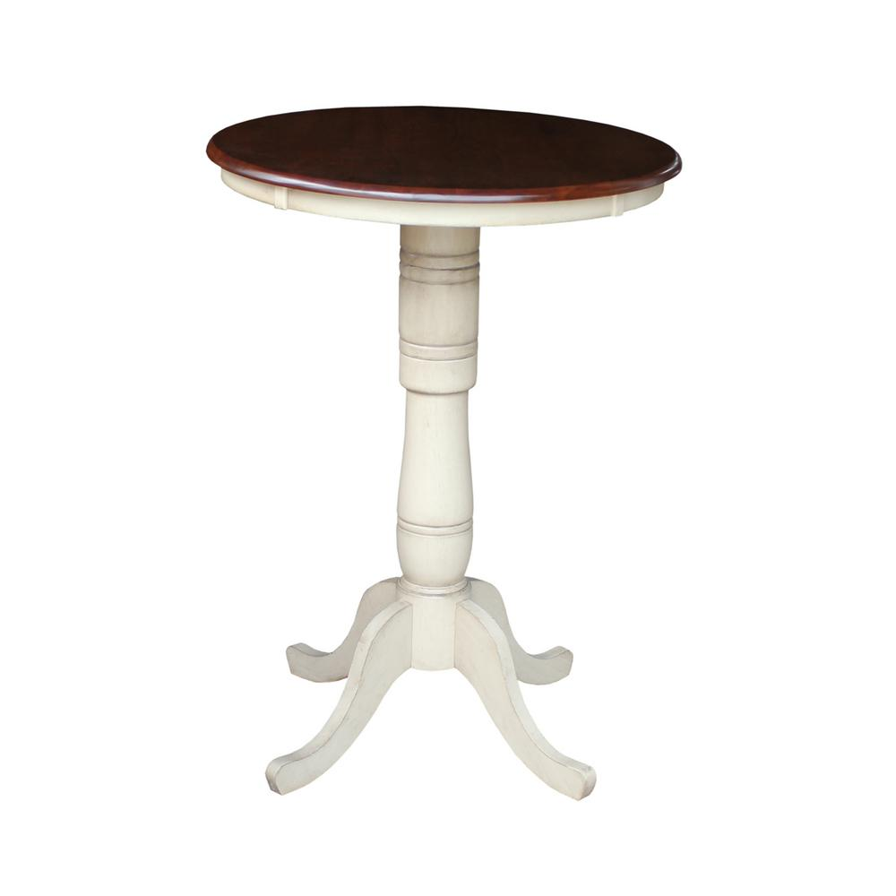 International Concepts Almond And Espresso Skirted Pub/Bar Table