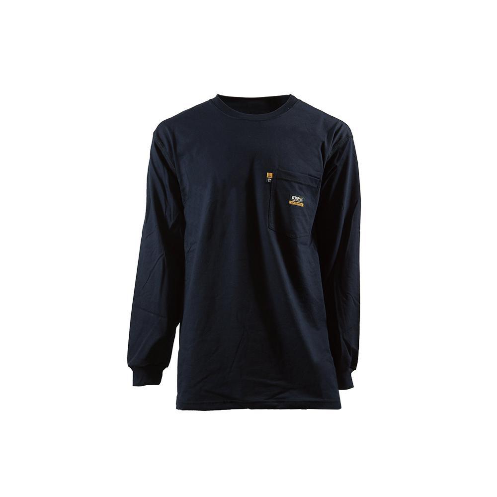 Men's 6 XL Regular Navy 100% Cotton FR Crew Neck T-Shirt