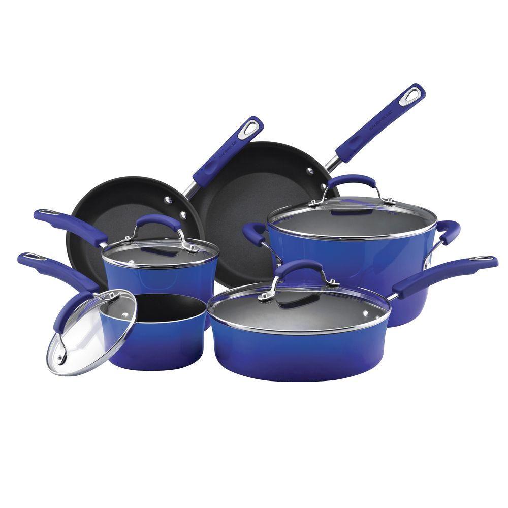 Rachael Ray 10-Piece Non-Stick Porcelain Enamel Cookware Set in Blue