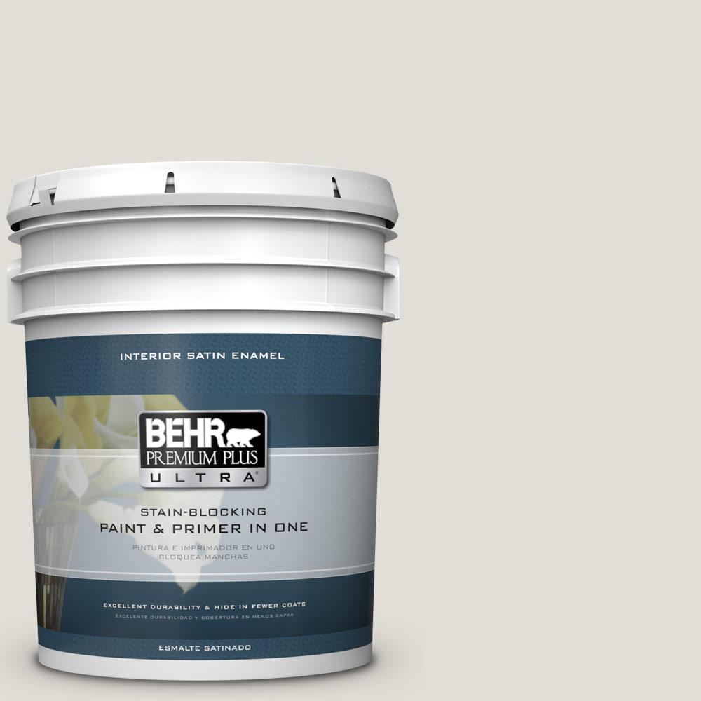 5 gal. #PPU24-15 Mission White Satin Enamel Interior Paint