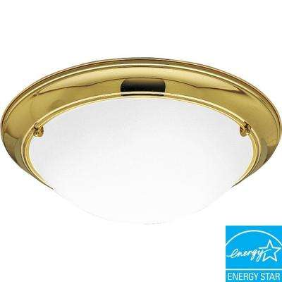 Eclipse Collection 3-Light Polished Brass Flushmount with Etched Glass