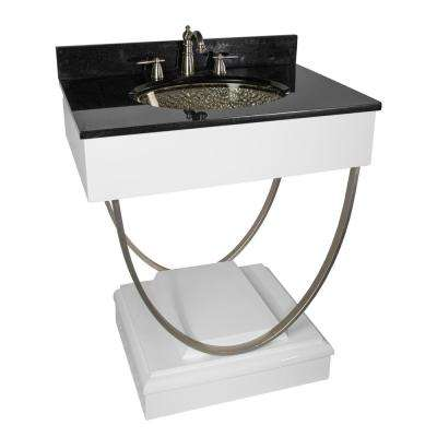 Ascetic 30 in. Bath Vanity in White with Undermount Granite Top in Black with Black Basin